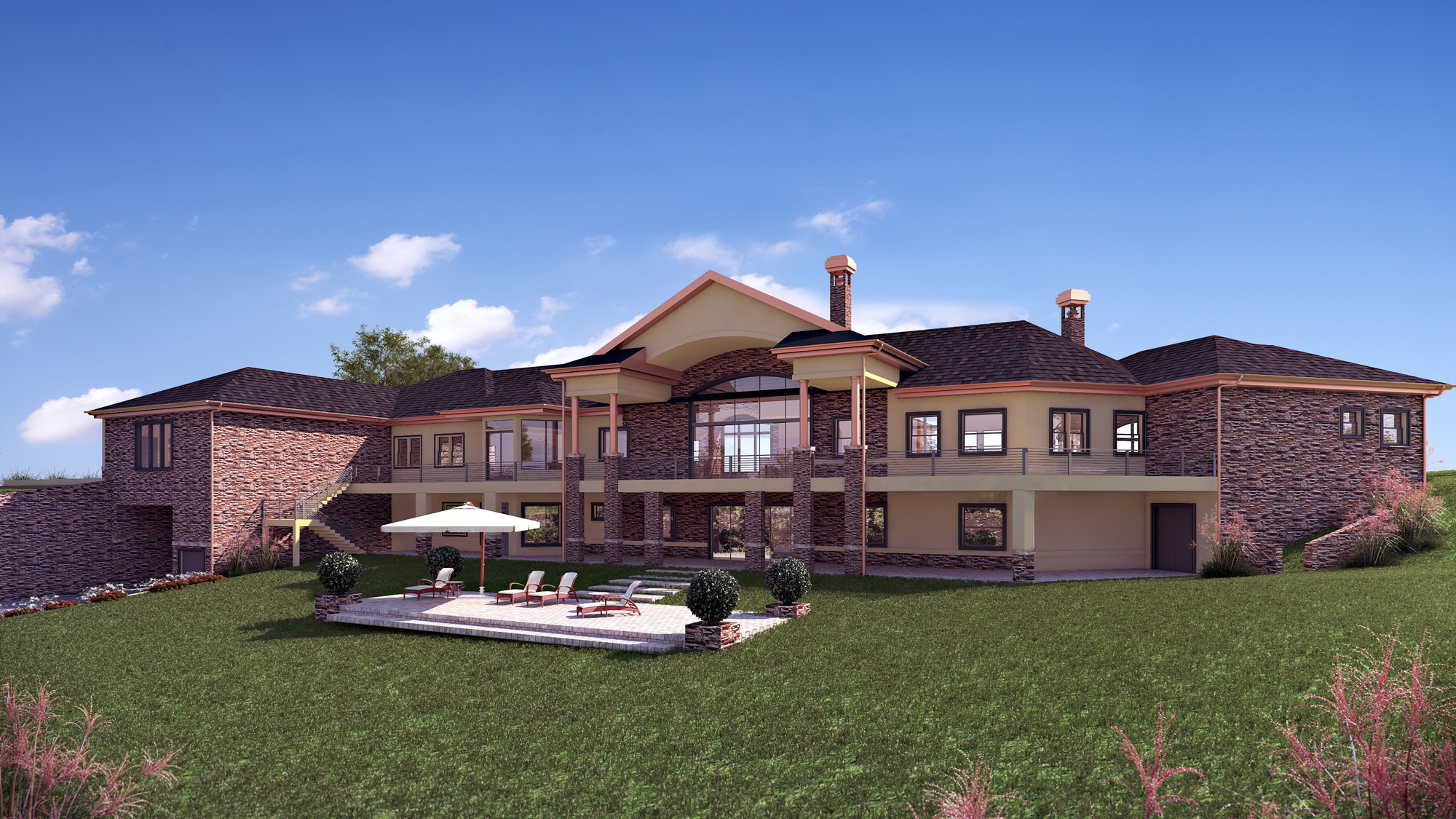 Residential Custom Home 3D rendering