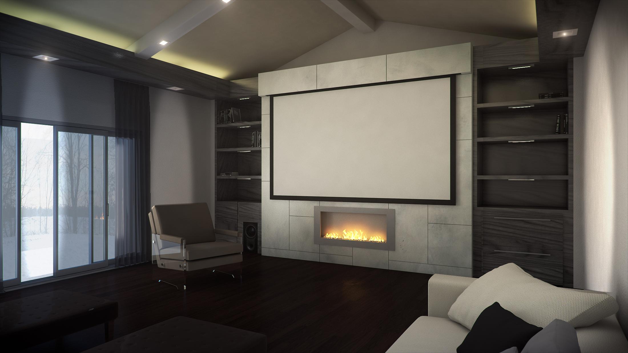 Custom Home Cinema 3D Rendering