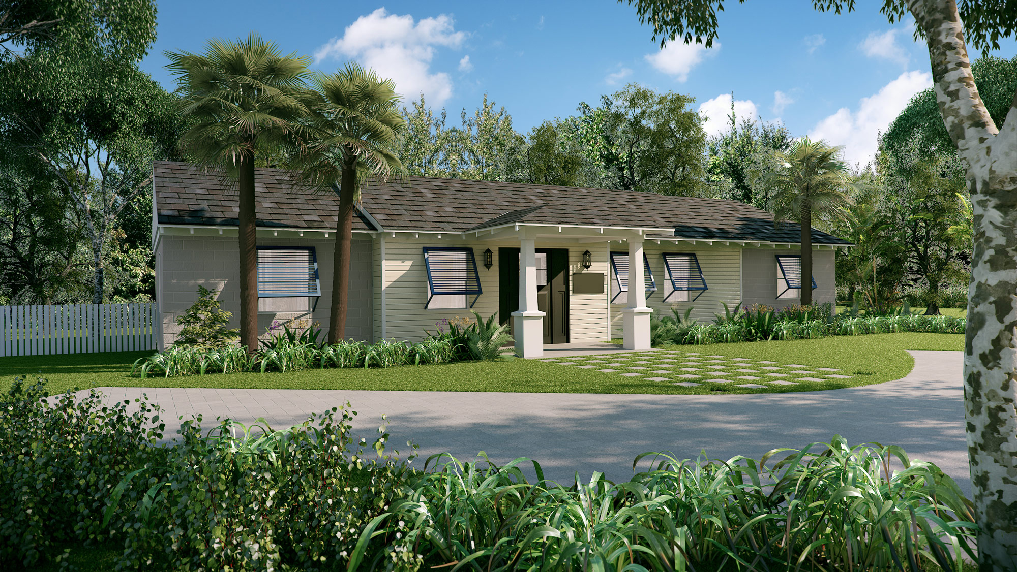 Caribbean Custom Home 3D Render