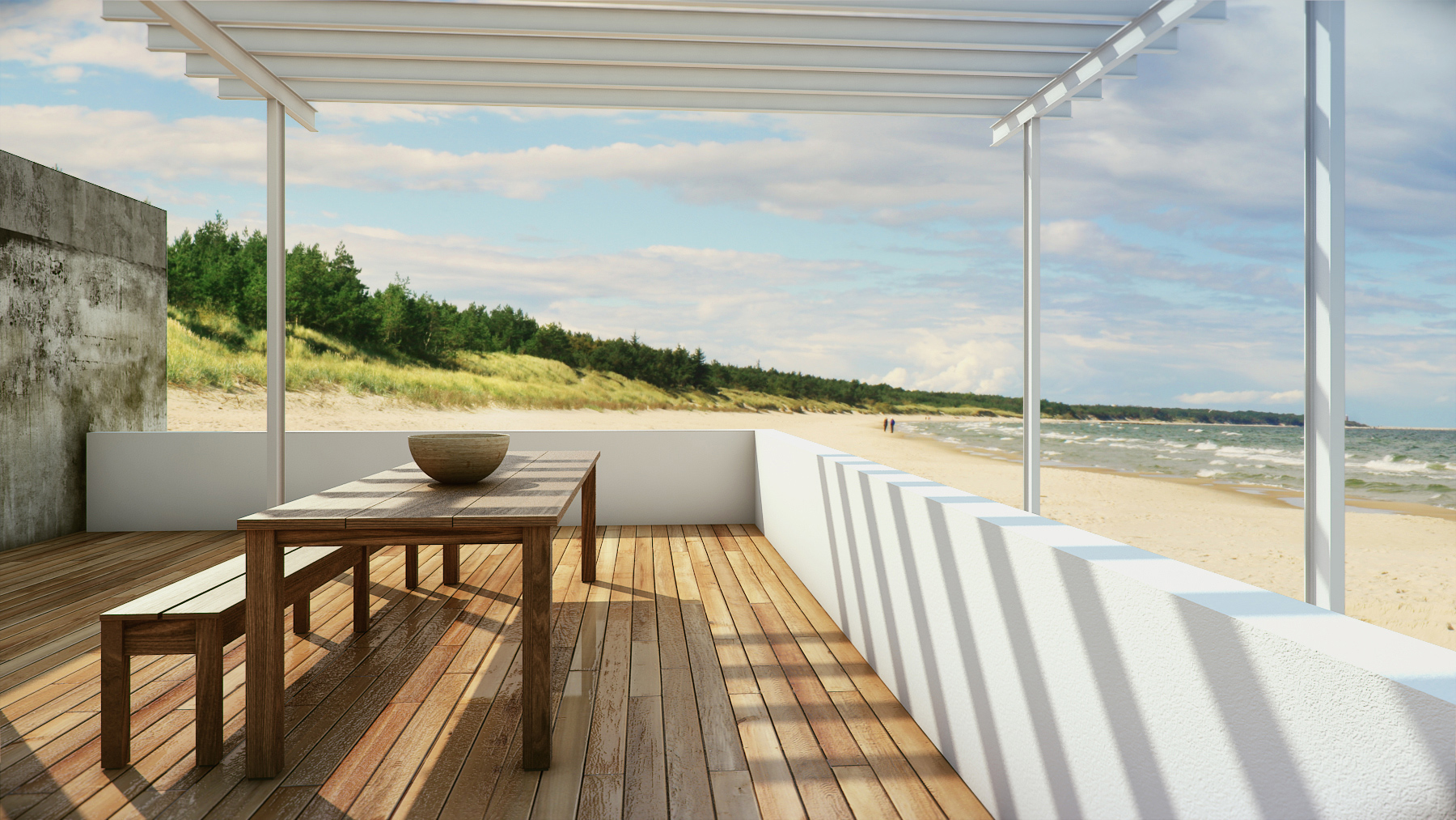 deck at the beach render
